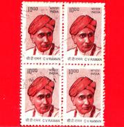 INDIA - Usato - 2009 - CV RAMAN - 10.00 (x 4) - Quartina