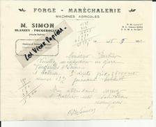 70 - Haute Saone - Blanzey - Fougerolles - Facture M.Simon - Forge- Maréchalerie -  - Réf. 13 - France