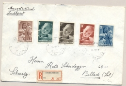 Nederland - 1947 - Kindserie Compleet Op R-cover Van Enschede Naar Bellach / Schweiz - Periode 1891-1948 (Wilhelmina)