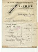 70 - Haute Saone  - Fougerolles - La Gabiotte - 2  Factures  H.Piller - Constructions Mécaniques  - Réf. 13 - France