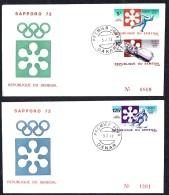 1972  Jeux Olympiques D'hiver - Sappor- Patinage De Vitesse, Bobsleigh, Ski  FDC - Senegal (1960-...)
