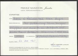 Germany Kleve 1967 / Franz Sanders Juwelier Expertise / Certificate / Perl Brillantring / Jewels - Juwelen & Horloges
