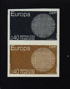 Timbre YT 1637 Essai De Couleur Ardoise Et Bistre Sur Timbre Europa Se Tenant Non Dentelé 1970 - Ongebruikt
