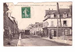 50 Equeurdreville Rue Gambetta Cpa Animée Tram Tramway Cachet 1909 Voir état Ci Dessous - Equeurdreville