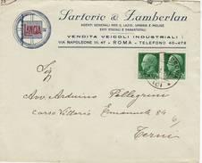 8182 02 ROMA SARTORIO ZAMBERLAN LANCIA X TERNI - 25C X 2 IMPERIALE - Marcophilie