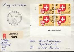 SCHWEIZ  1141 4erBlock MeF, Auf Auslands-R-Brief, Mit SoSt: Bern Weltpostverein 14.11.1978, Canton Jura - Blocks & Sheetlets & Panes