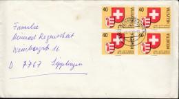 SCHWEIZ 1141, 4erBlock Auf Brief Ins Ausland Mit Stempel: 1Schaffhausen 2.1.1981 - Blocks & Kleinbögen