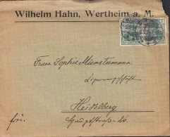 DR 85 A MeF Auf Brief Mit Inhalt Der Fa. Wilhelm Hahn Mit Stempel: Wertheim 9.9.1914