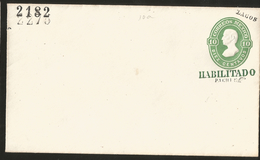 J) 1882 MEXICO, 10 CENTS GREEN, ENABLED, WITH EMBOSSED, POSTAL STATIONARY, TO LAGOS, XF - Mexico