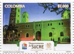 Lote 2017-1.2, Colombia, 2017, Sello, Stamp, Depto De Sucre, Catedral De Sincelejo, Church - Colombie
