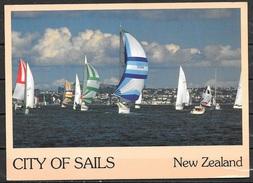 1986 New Zealand, Auckland Harbor, Sailboats, Mailed To USA - New Zealand