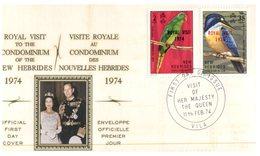 (123)  FDC Cover - Nouvelle Hebrides - New Hebredes - 1974 - Royal Visit Overprint On Birds - FDC