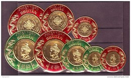 Bhutan(Asia)-8 Diff. 1975 King Jigme Singye Wengchuk 20th Birthday Embossed  On Gold File Round Shaped Stamps #T75 - Bhutan