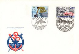 Enveloppe 1er JOUR - Centenaire De La Sté Internationale De Sauvetage Du Léman Les 15/16. 6. 1985, Af. Suisse & Français - FDC