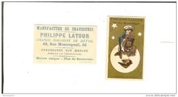 Chromo Petit Format 6.6cmx4cm  Imp H.Laas Fond Or -Chaussures Philippe Latour  Paris  La  Lune Fournisseur De Sa Majesté - Altri