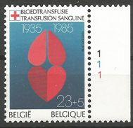Belgique 1985 2162 ** Bdf N° Planche 1 Croix-Rouge Transfusion Sanguine