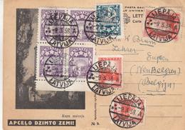 Lettonie - Carte Postale De 1938 - Oblit Liepaja - Exp Vers Eupen En Belgique - Letland