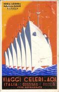 """(CP).""""Viaggi Celeri In A.O.I.""""Pubblicitaria Della R.A.Monopolio Banane.Illustrat. G.Martelli (117-a17) - Advertising"""