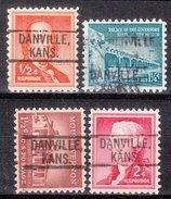 USA Precancel Vorausentwertung Preos Locals Kansas, Danville 802, 4 Diff.