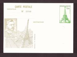 France Entier Postal Paris Tour Eiffel 1982 Gustave Eiffel - Postal Stamped Stationery