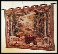"""Joyeux De La Tapisserie Française Painel Original Gobelin Sur  Le Tème De  """" Vue Du Palais D'Enghien Et Jardins """". - Rugs, Carpets & Tapestry"""