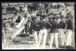 CPA ANCIENNE- FRANCE- MILITARIA- BATTERIES ALPINES AU BIVOUAC- TRES BELLE ANIMATION GROS PLAN- CHASSEURS ALPINS - Guerre 1914-18