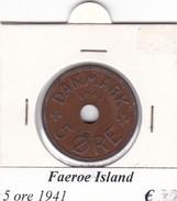 FAEROE ISLAND   5 ORE  1941  COME DA FOTO - Danimarca