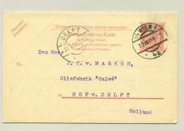 Österreich - 1908 - 10+10 H Korrespondenz-Karte Commercial Used From Wien To Delft / Nederland