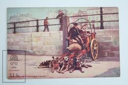Old Postcard Belgium - Dog Life In Belgium - Oillette Illustrator - 4 Dogs Carriage - Otros Ilustradores