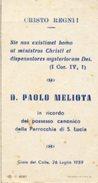 Gioia Del Colle - Santino D. PAOLO MELIOTA (Ricordo Possesso Canonico Parrocchia S. Lucia) 26 Luglio 1959 - OTTIMO N47b - Religión & Esoterismo