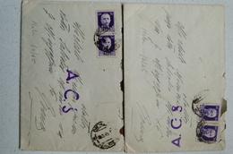 STORIA POSTALE NOLA 1945 - LOTTO DUE BUSTE COMPLETE DI TESTO - TIMBRO ACS - FRANCOBOLLI SOPRASTATATI PM - 5. 1944-46 Lieutenance & Umberto II