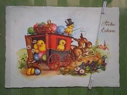 Kov 1090 - Joyeuses Paques, Easter, CHICKEN, POULET, RABBIT, LAPIN, Ed Kruger - Easter