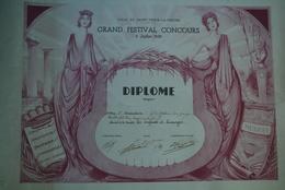 87 -SAINT YRIEIX LA PERCHE-DIPLOME GRAND FESTIVAL CONCOURS MUSIQUE-CHORALE-FANFARE-LES ENFANTS DE LIMOGES- 1ER PRIX 1939 - Diplômes & Bulletins Scolaires