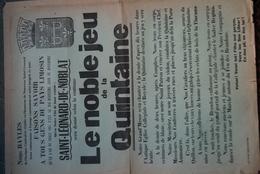 87 -SAINT LEONARD NOBLAT-RARE AFFICHE LE NOBLE JEU DE LA QUINTAINE- 1961-BAYLES MESSE EGLISE -IMPRIMERIE MONTIBUS - Posters
