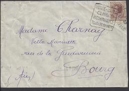 """MONACO - 1938 -  """" Hotel De L'Ermitage Monte-Carlo """" N° 87 Sur Enveloppe Vers Bourg En Bresse - - Postmarks"""