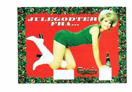 Cpm - Publicité Bière CARLSBERG - FEMME SEXY Pin'up BOTTES BLANCHES JAMBES NUES - Découpis Puzzle JULESGODTER FRA - Pubblicitari
