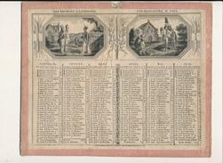 Calendrier, Almanach De 1831 Agrémenté De  4 Petites Scènes Militaires - Scan Recto Verso - Grand Format : ...-1900