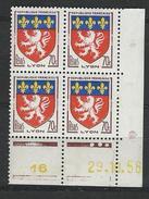 """Coins Datés YT 1181 """" Armoiries  Lyon """" Neuf** Du 29.10.58 - Angoli Datati"""