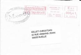EMA - 2002 - ANGOULEME / VILLE DE L'IMAGE ET DE LA BD  - HD 102015 -  Rouge - CACHET DE LA MUTUELLE DES AGENTS MUNICIPAU - Poststempel (Briefe)