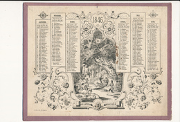 Calendrier, Almanach De 1846 - Scènes Romantiques - Scan Recto Verso - Calendars