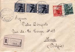 Lettre Recommandée Italie 1946 Hotel Castello Tesino Trento Pour Mons Belgique - 1946-.. Republiek