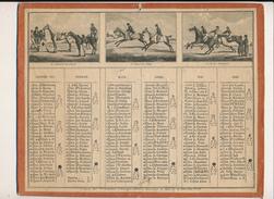 Calendrier, Almanach De 1835 - 6 Scènes Courses De Chevaux, Equitation - Scan Recto Verso - Grand Format : ...-1900