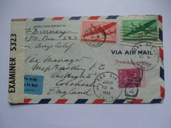 USA - 1942 Censor Cover - Air Mail San Diego To Colchester England - Briefe U. Dokumente