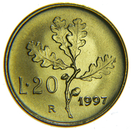 [NC] REPUBBLICA ITALIANA - 20 LIRE 1997 - FDC DA ROTOLINO - 1946-… : Repubblica