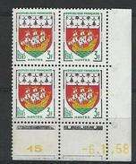 """Coins Datés YT 1185 """" Armoiries De Nantes """" 1958 Neuf** Du 6.11.58 - Angoli Datati"""