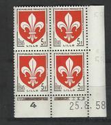 """Coins Datés  YT 1186 """" Armoiries Lille """" Neuf** Du 25.8.58 - Angoli Datati"""