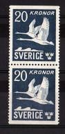 1953 - Oiseaux - Suède - PA N° 7a (paire Verticale) - Neufs ** - Cygnes