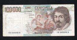 Banconota Italia 100.000 Lire Caravaggio I° Tipo  BB - [ 2] 1946-… : Républic