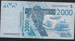 W.A.S. LETTER S GUINEA BISSAU  P916Sp 2000 FRANCS  2016 FINE Folds  NO P.h. ! - West African States