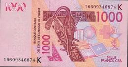 W.A.S. LETTER K SENEGAL  P715Kp 1000 FRANCS  (20)16 AU - West-Afrikaanse Staten